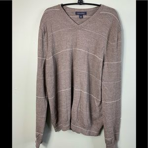 Banana Republic Mens V Neck Sweater Merino Brown